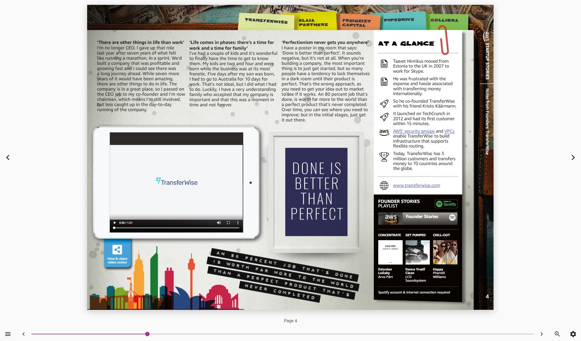 A screenshot of a fixed layout EPUB3 as displayed in the Colibrio reader. The document contains interactive features such as video and integrated Spotify playback.